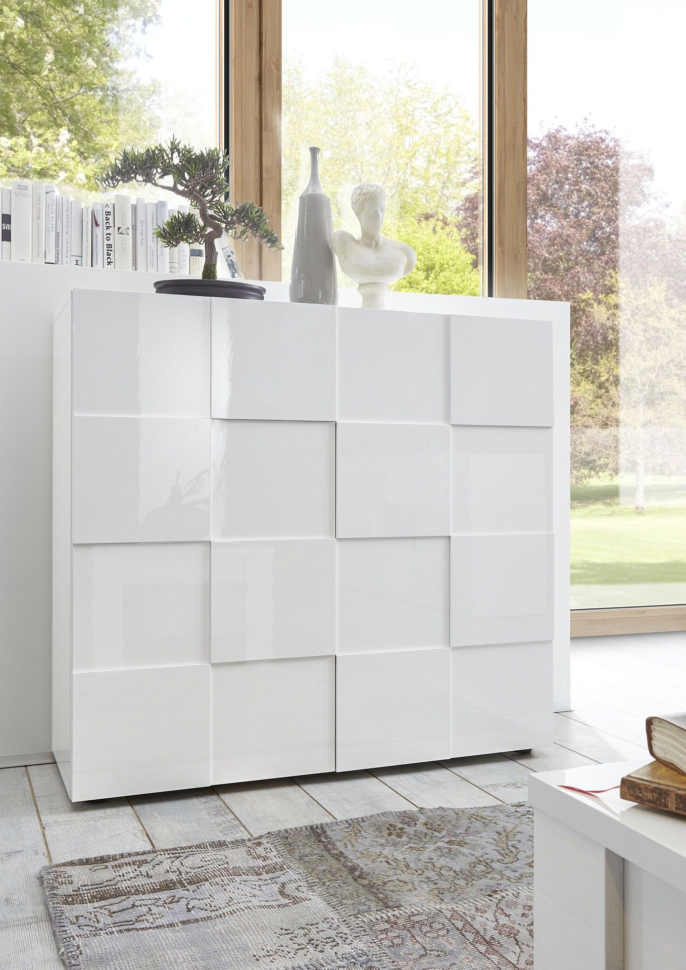Vaisselier/argentier 2 Portes Design Laqué Blanc Brillant Milenor    Vaisselier Et Argentier   Autres