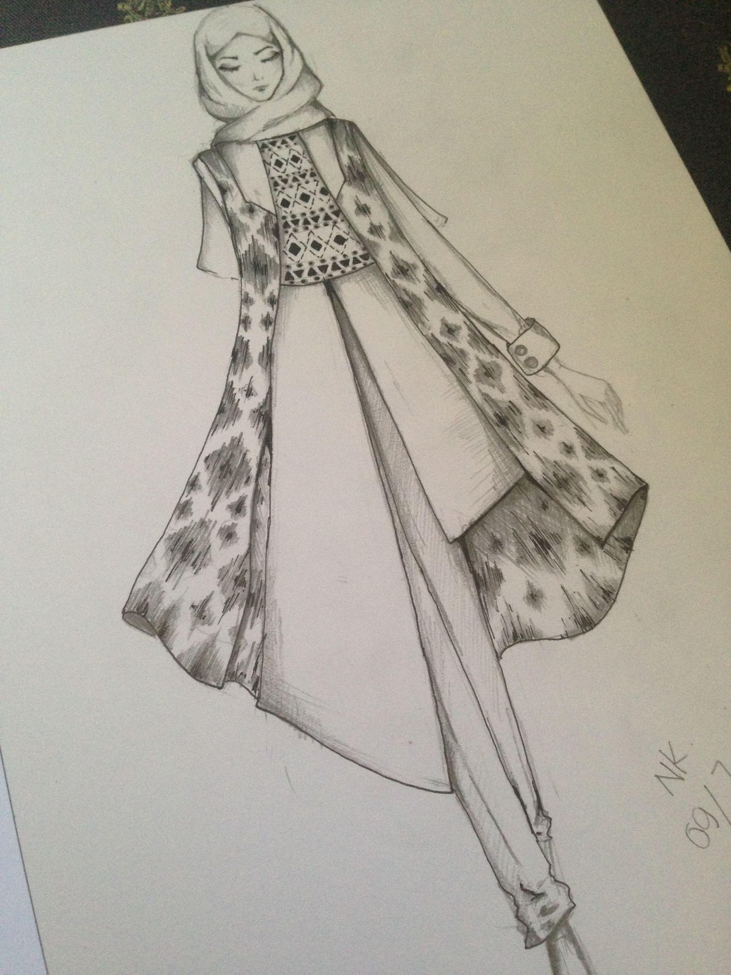 Fashion Hijab Sketch with Tenun Ikat #tradisi #Indonesia #Fashion