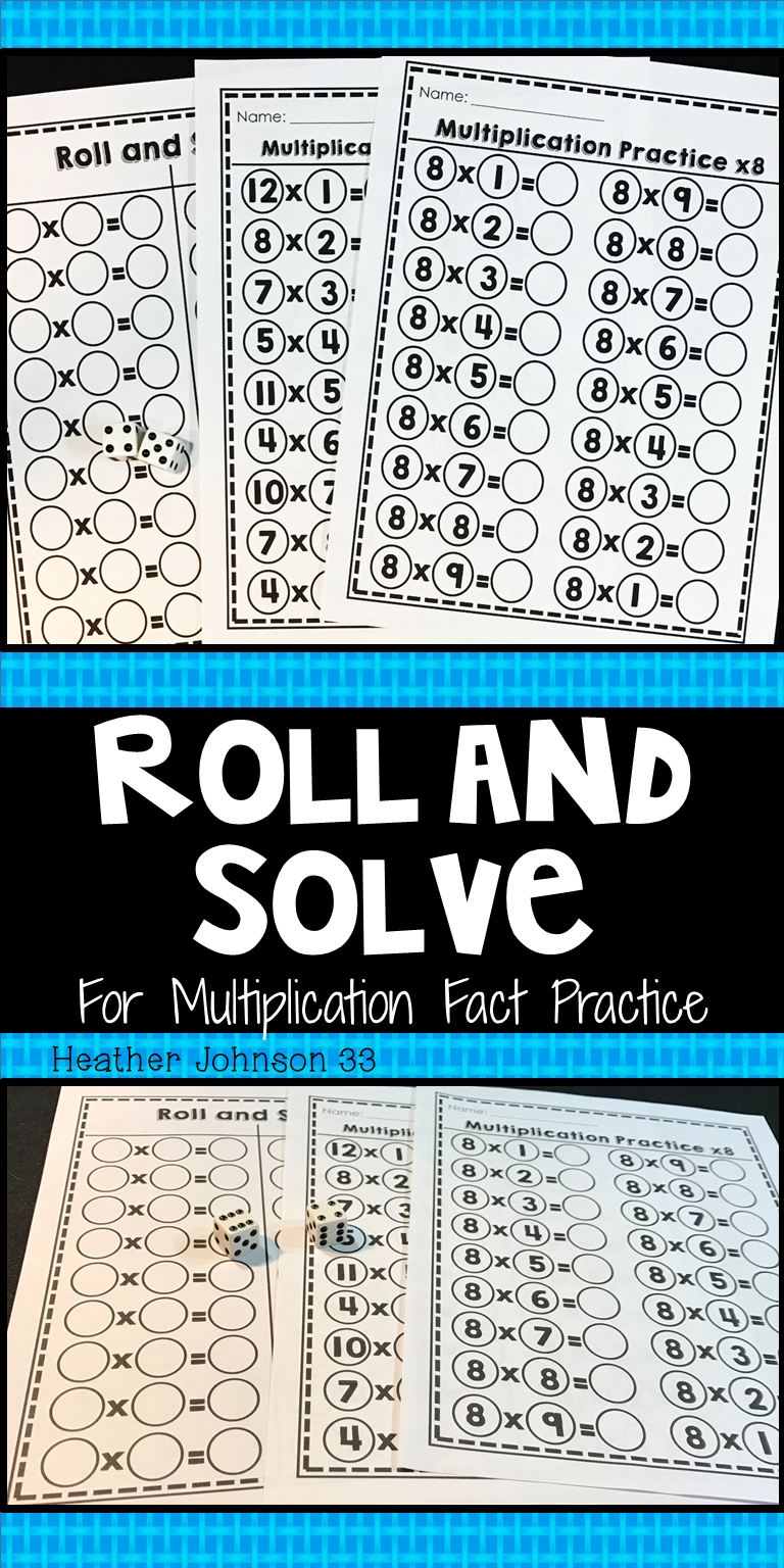 Multiplication Fact Practice: Roll and Solve Game | Math Fact ...