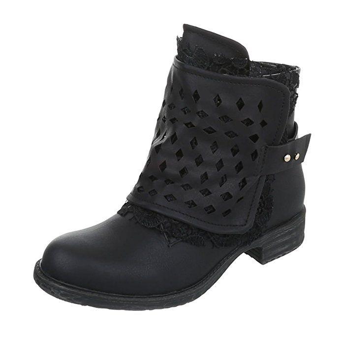 Damen Stiefeletten Schuhe Boots Designer Schwarz 36 BgHCx