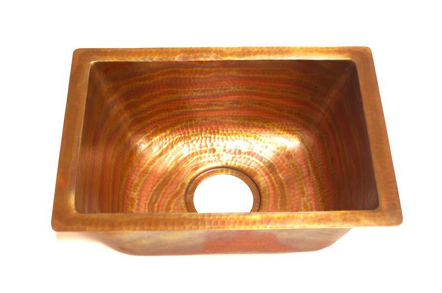 Mendocino Rectangular Under Mount Bar Copper Sink With 1 Flat Rim 17 X 12 X 7 Gauge 16 Copper Apron Sink Rustic Kitchen Sinks Copper Bar