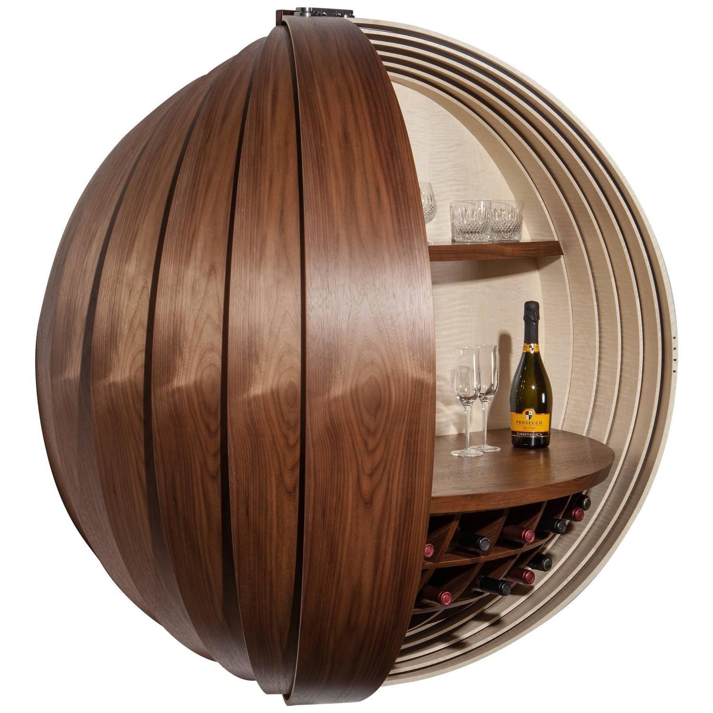 walnut drinks cabinet or dry bar wallmounted