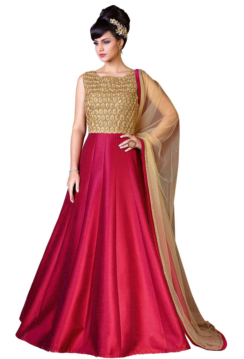 5386264482 Semi #Stitched Red,#Gold #Silk #Anarkali #Style #Suit #nikvik #usa  #designer #australia #canada #freeshipping #fashion #dress #suits #sale