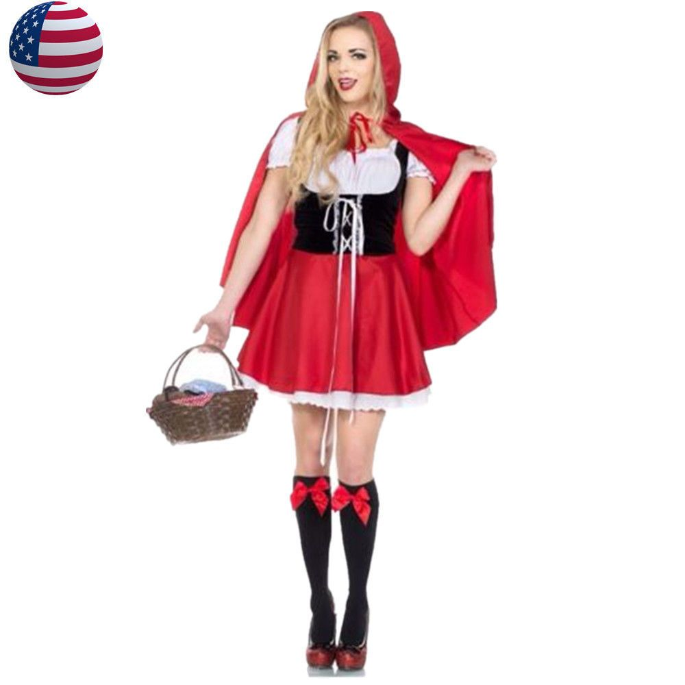 US Stock Plus Size S-6XL Little Red Riding Hood Costume Women Cosplay  Outfit  Halloween  CostumesforWomen  CoolCostumes 396063acf