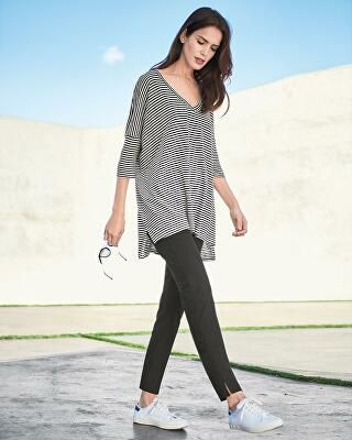 bf4f473e393 Eileen Fisher Designer Striped Organic Linen Jersey V-Neck Tunic ...