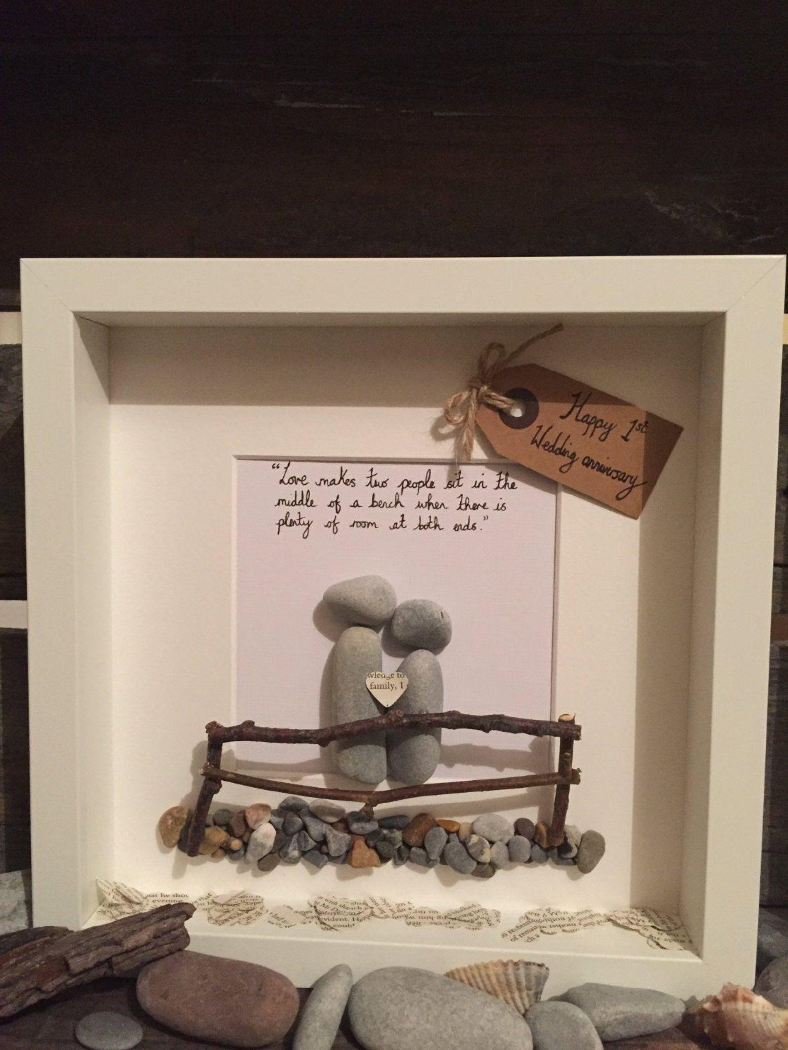 1st wedding anniversary pebble art frame, personalised