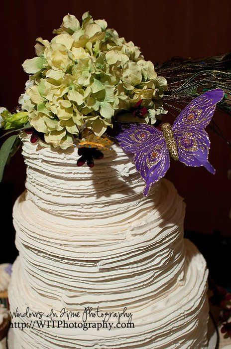 """Bridal Expo wedding cake ~ """"Secret Garden"""" ~ Hydrangea and purple and gold 'flutterby'"""