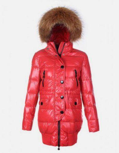 Cheap Moncler Loire Coat Women Fur Hoodie Zip With Button Red