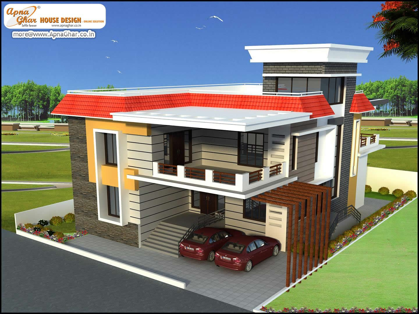 Modern duplex 2 floors house in 450m2 18m x 25m click for House naksha image