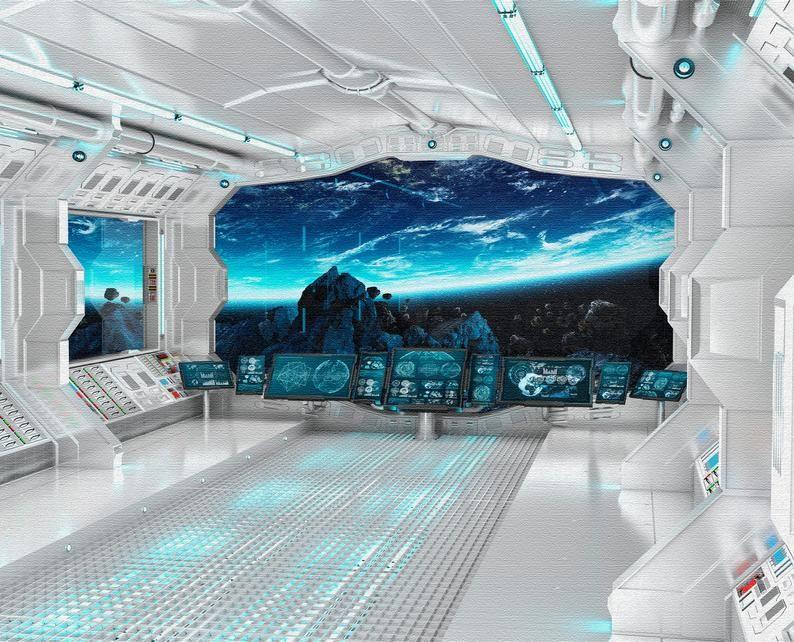 Wall mural sci-fi photo art. Wall mural futuristic spaceship Fantastic interioir photo wallpapers Wall mural of starship interior SKU 20014