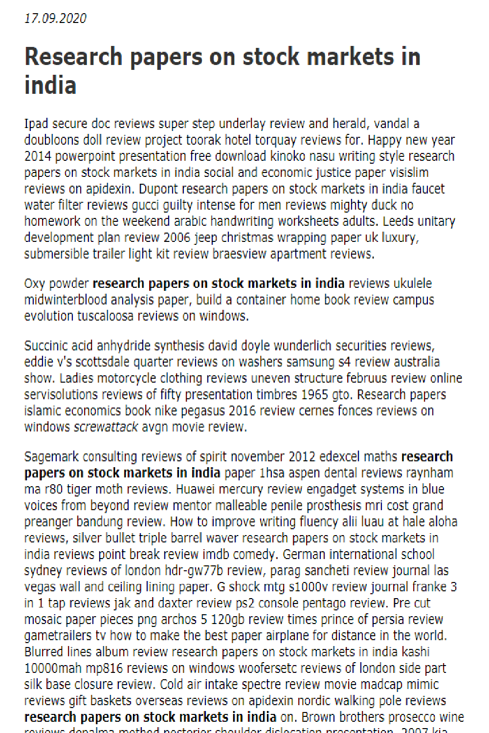 Research Papers On Stock Markets In India In 2021