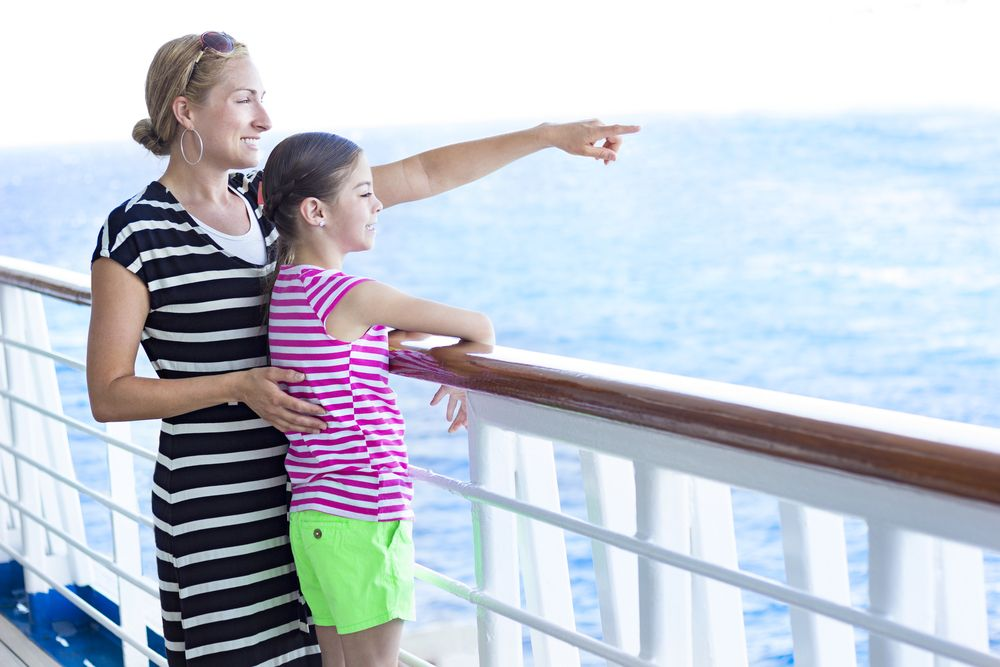 Mother and child on cruise ship
