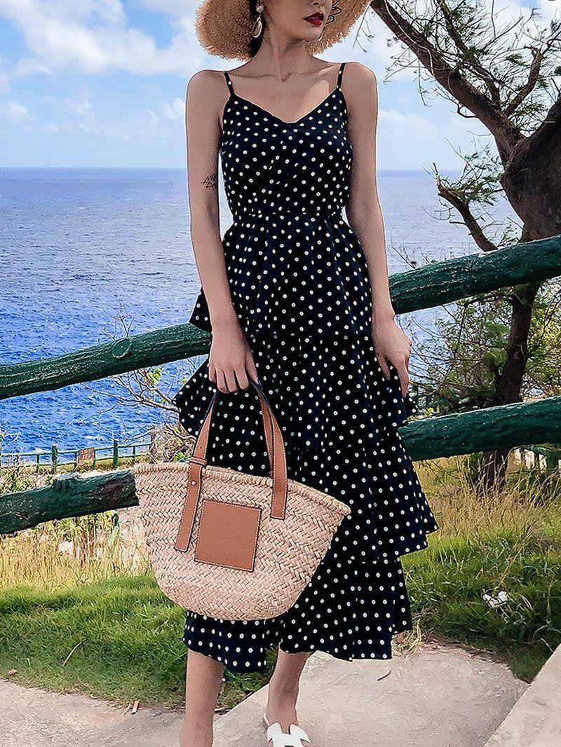 Casual Sling Polka Dot Bare Back Beach Casual Dresses For Summer Casual Dresses For Summer Su Business Casual Dresses Modest Dresses Casual Cute Casual Dresses [ 1066 x 800 Pixel ]
