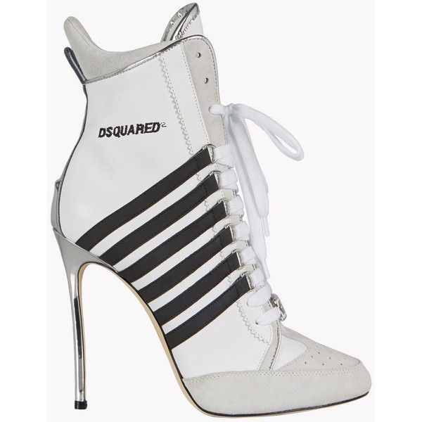 Dsquared2 Ankle Boot (8.170 ARS) ❤ liked on Polyvore featuring shoes, boots, ankle booties, white, two toned boots, suede ankle bootie, suede bootie, suede boots and white short boots