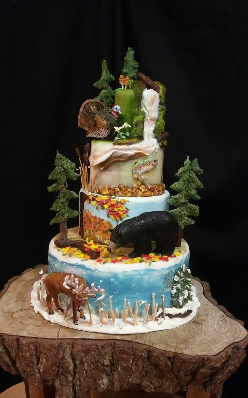 A Michigan Wildlife Themed Cake Turkey Bear Trout And