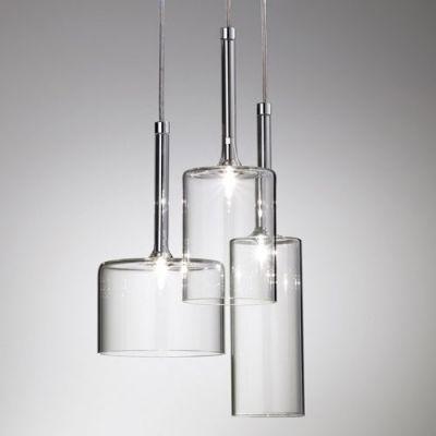 Round Canopy Clear Glass Multi Light Pendant Light In Designer