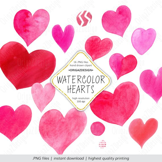Heart Clipart Valentines Day Watercolor Heart Png Bundle Etsy San Valentin