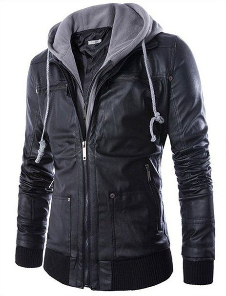 Men Brown Leather Motorcycle Jacket with Removable Hood Two-Pocket Trucker Hoodie Jacket