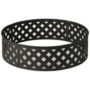 Hampton Bay 30 In Steel Fire Ring With Lattice Pattern In Black Ofw279fr The Home Depot Fire Ring Steel Fire Pit Ring Fire Pit Ring