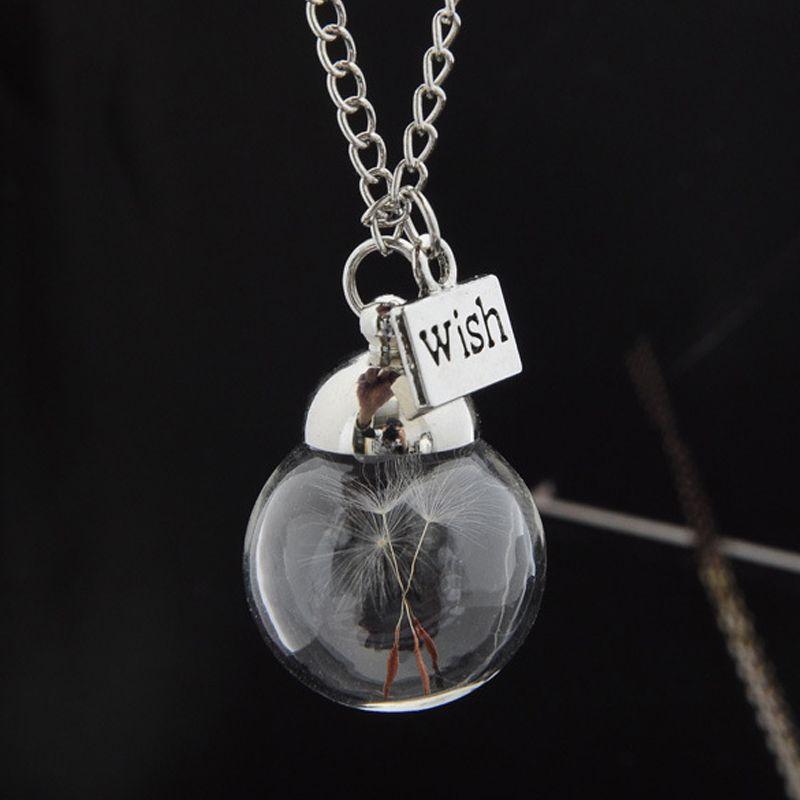 Nuevos Productos Moda de Diente de león Collar de Cristal Redondo Creativo Botella Wish Dandelion Collar de Diente de León Semillas Bienes