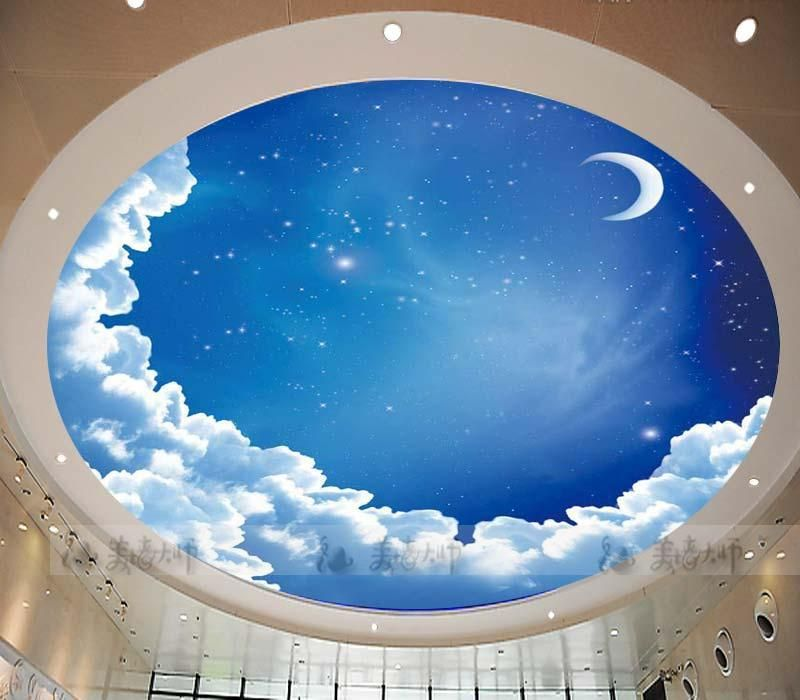 Star ceiling circular woven wallpaper ceiling wallpaper for Ceiling mural sky