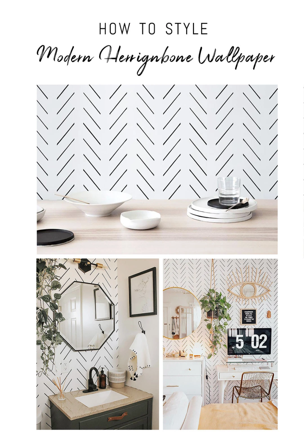 How To Decorate With Removable Wallpaper Modern Delicate Herringbone Design Interior Design Inspiration Herringbone Wallpaper Kitchen Interior