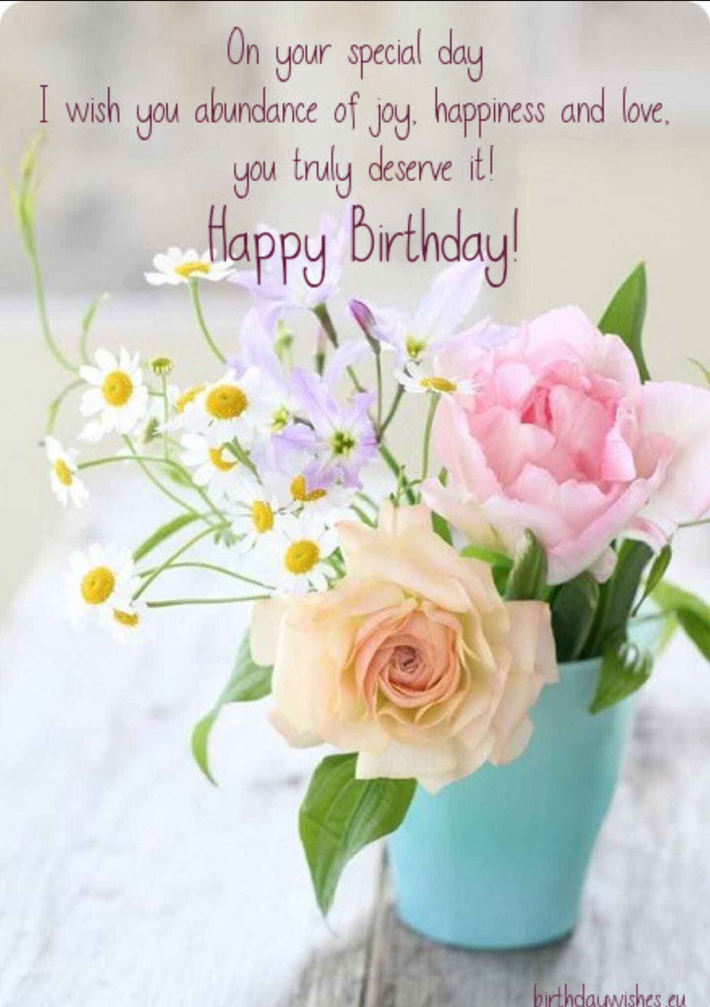 Pin By Robin Jones On Birthday And Cards Happy Birthday Wishes Sister Happy Birthday Flower Birthday Blessings