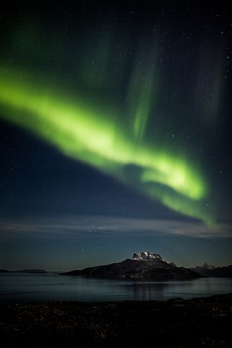 Sermitsiaq Mountain with northern lights
