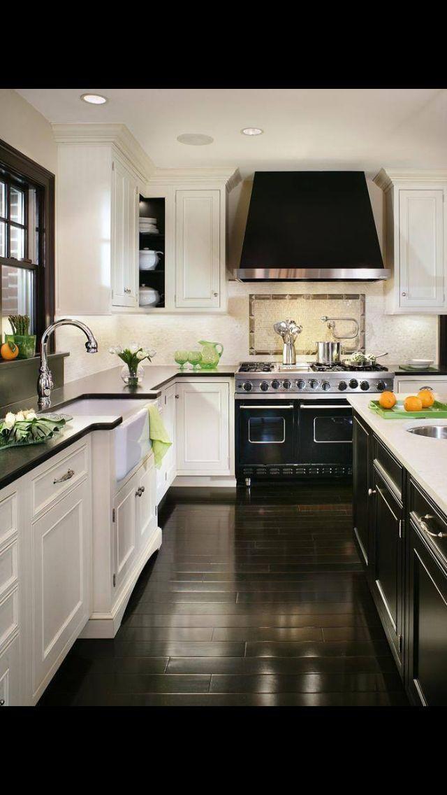 Black white kitchen brevard house dark wood floors - Black and wood kitchen ...