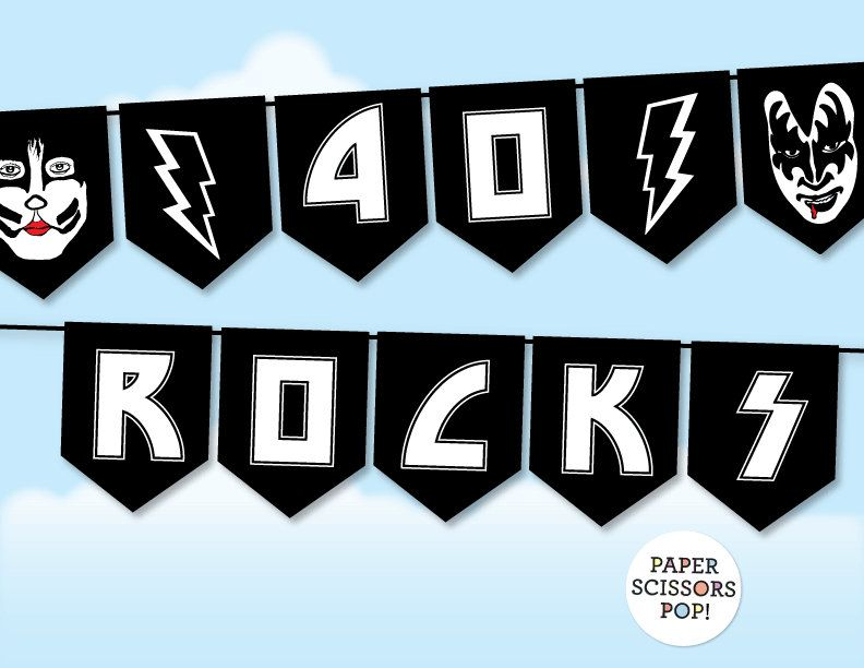Glam Rock Kiss Birthday Banner Instant Download 40 Rocks Banner Rock N Roll Decor 30th 60th 50th Kiss Banner Heavy Metal Theme Rock And Roll Birthday Glam Rock Rock Star Party