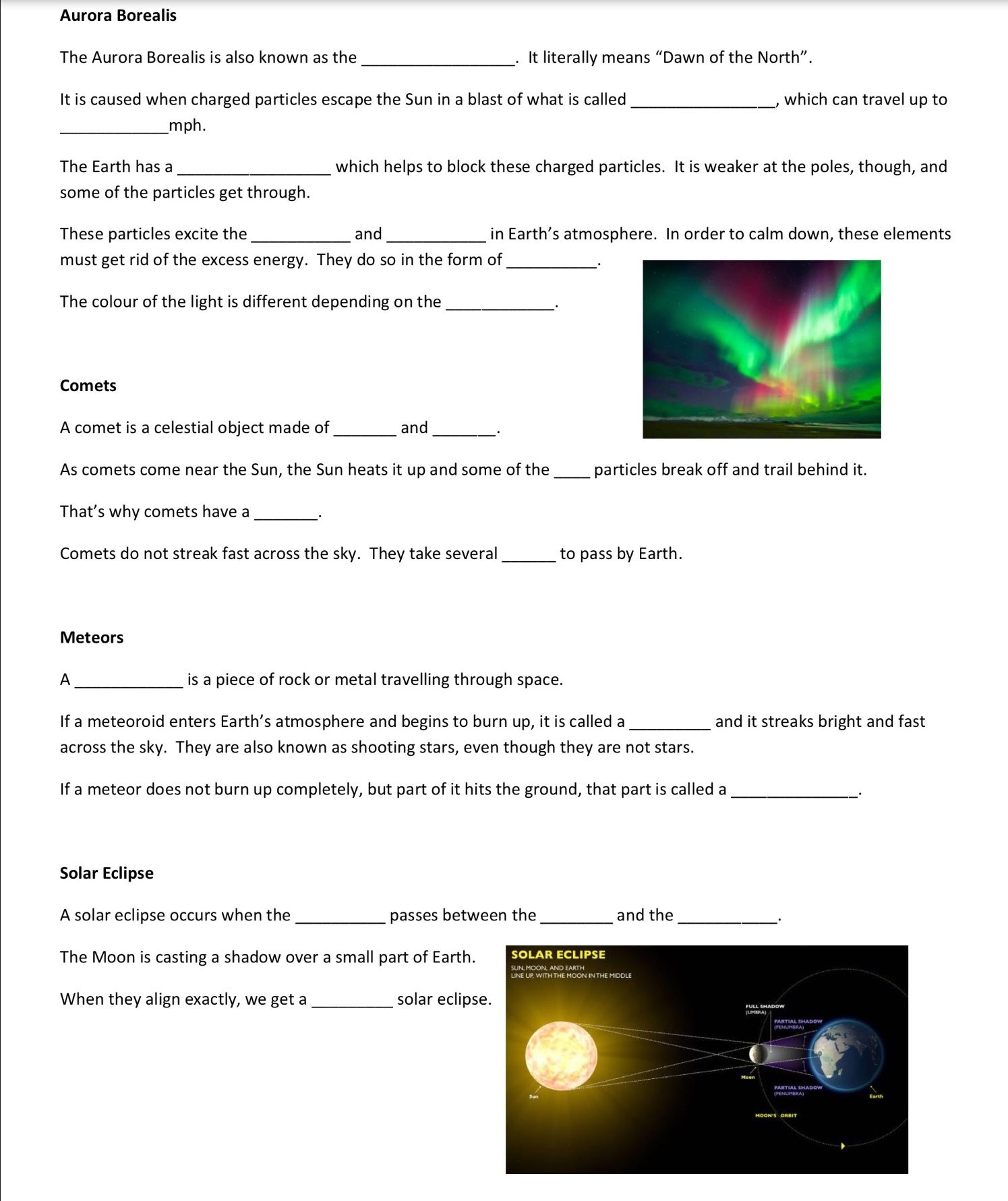 small resolution of Astronomical Phenomenon - Worksheet - December 14