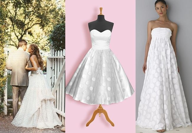 Polka Dotted Wedding Dresses The One In Middle For Rehearsal Or Reception