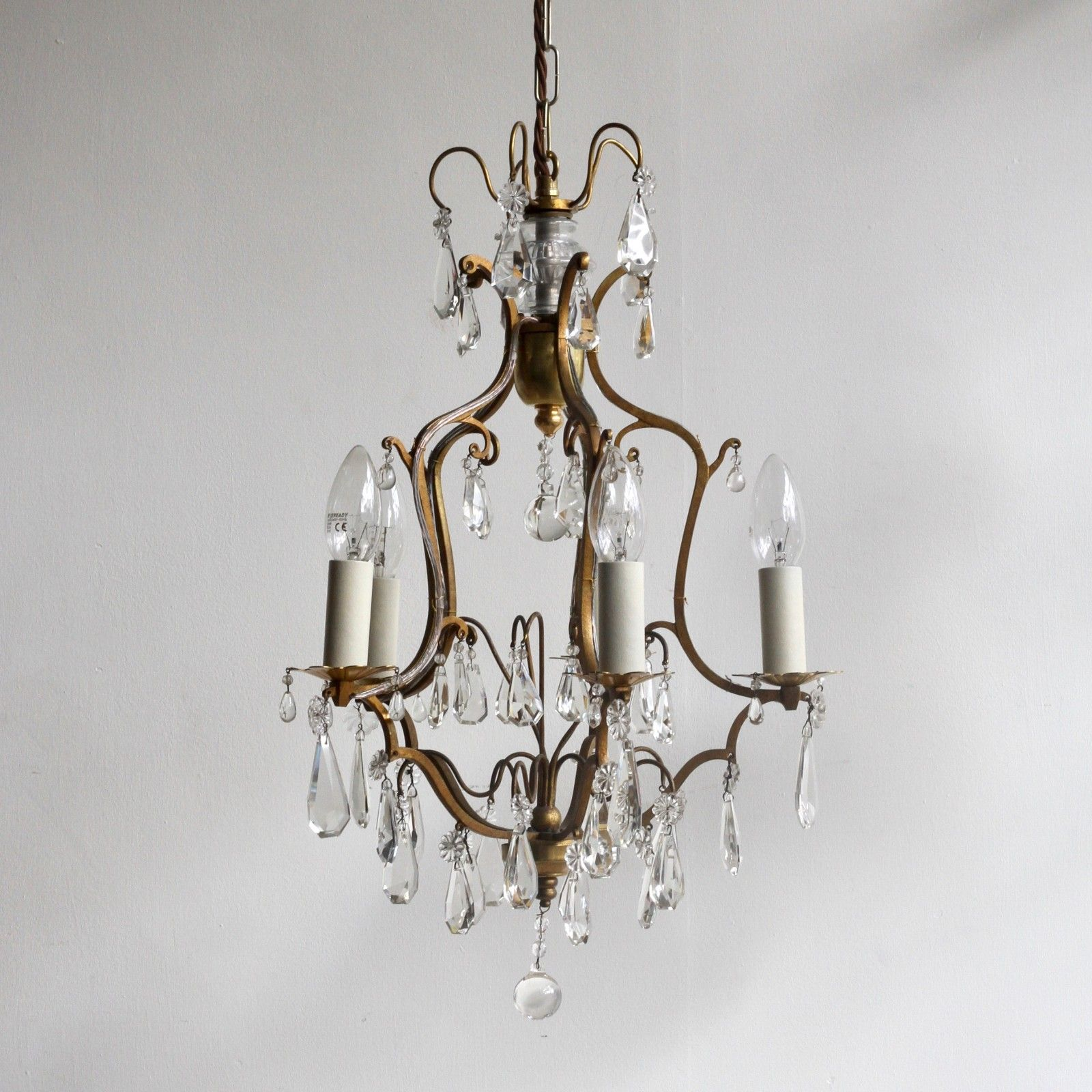 Petite gilt brass birdcage chandelier with crystal drops