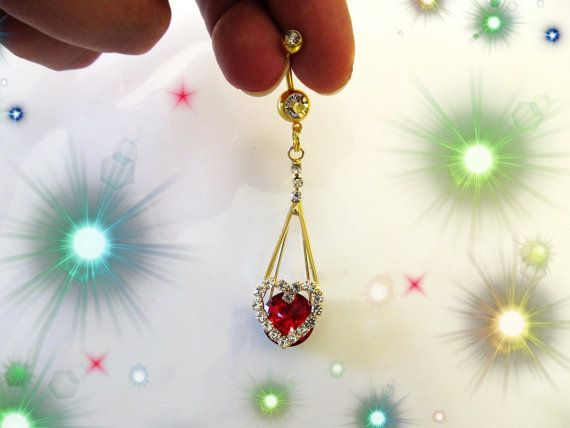 Belly Ring Large Gold Dangling Ocean Ruby Red Crystal Heart Fancy