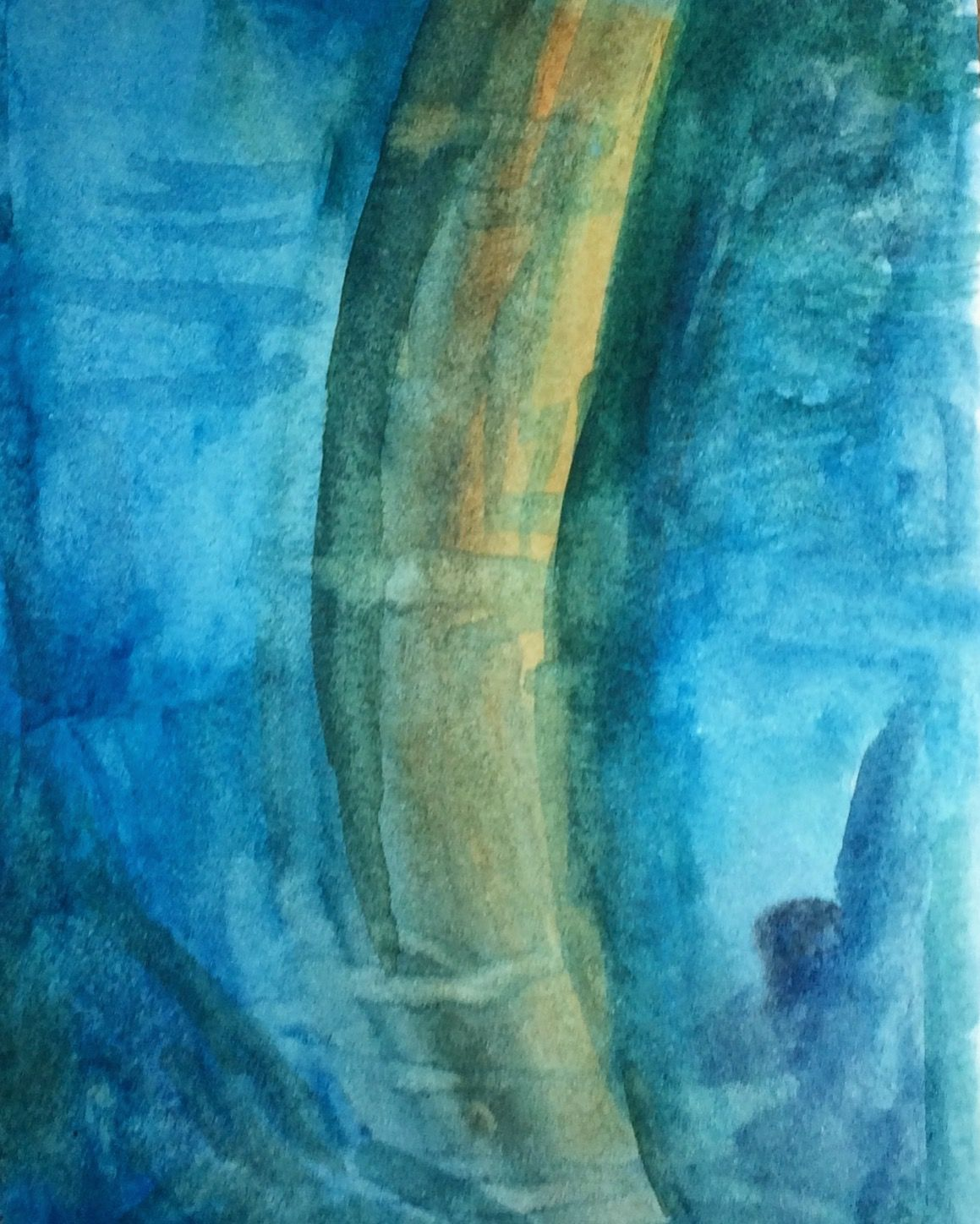 Day 49 Tree Trunk Reflection In Pool Watercolor Sketch Book