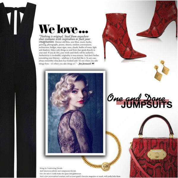 A fashion look from February 2018 by beautifulplace featuring Ganni, Kurt Geiger, Dolce&Gabbana, Chanel, Dolce, jumpsuits, ankleboots et Pythonbag