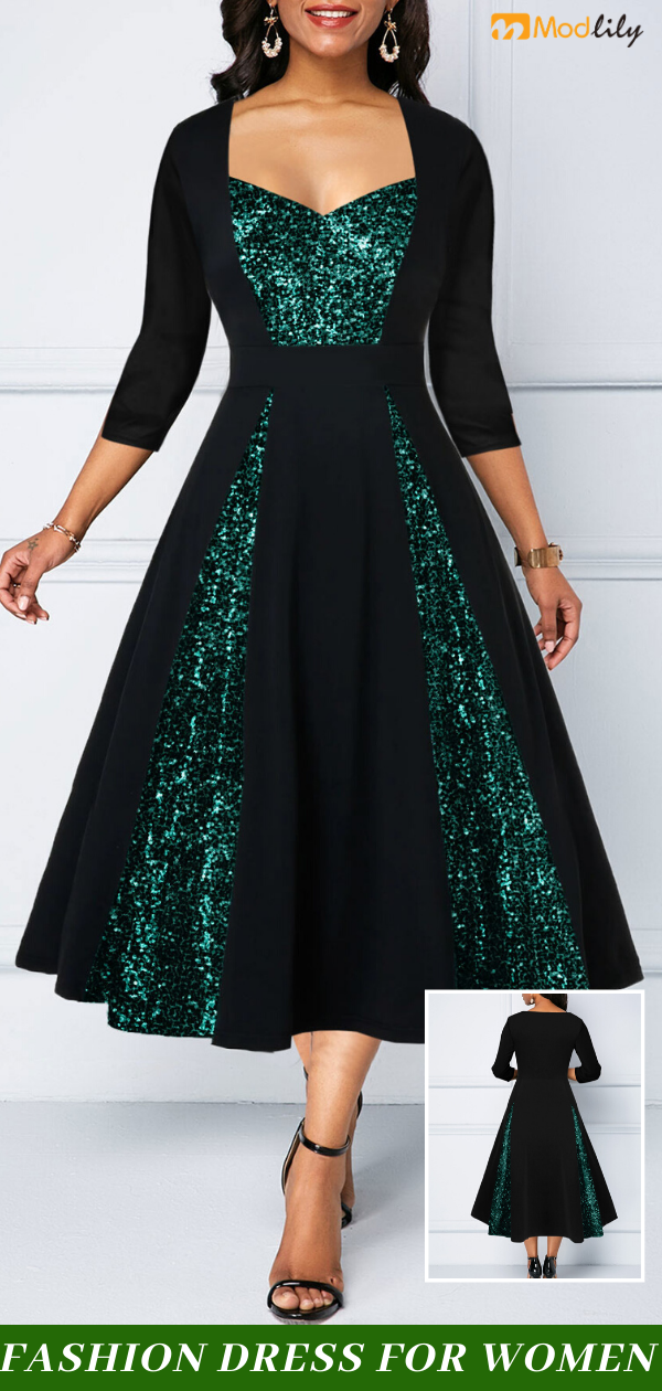 Sequin Panel Three Quarter Sleeve A Line Dress #kleidersale