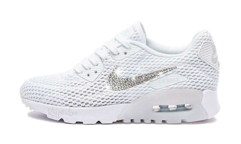 Womens Nike Air Max 90 Ultra White Custom Bling Crystal Swarovski Sneakers, Running  Shoes,