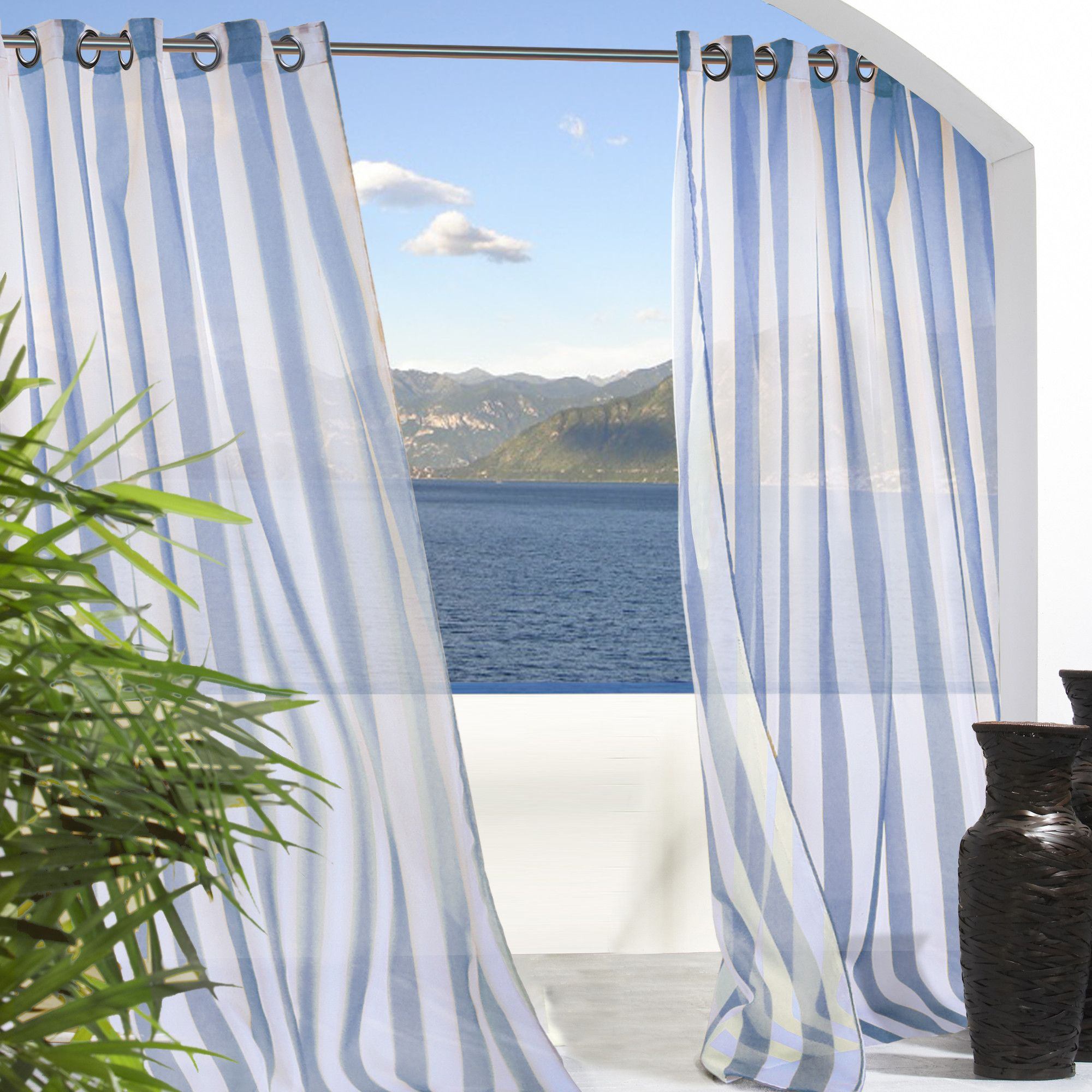 Commonwealth Home Fashions Outdoor Décor Escape Outdoor Stripe Grommet Top Curtain Panel & Reviews | Wayfair $24.99