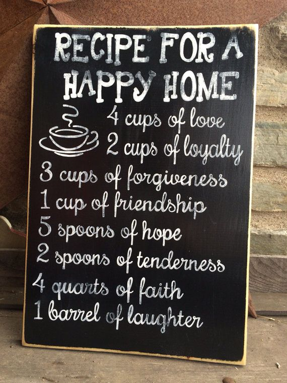 Recipe For A Happy Home Hand Painted Wooden Sign Black