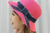 Sun straw hat for summer wear bow womens hats