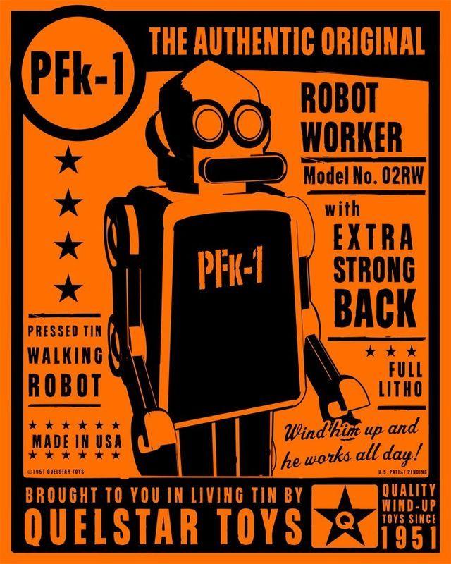 PFk1 Tin Toy Robot Box Art Print product image Плакат