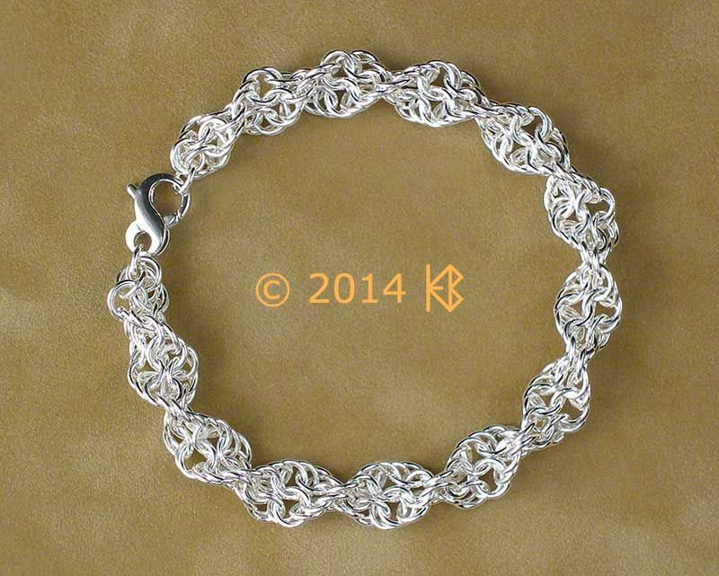 Inverted Spiral weave bracelet in 18 gauge Argentium.