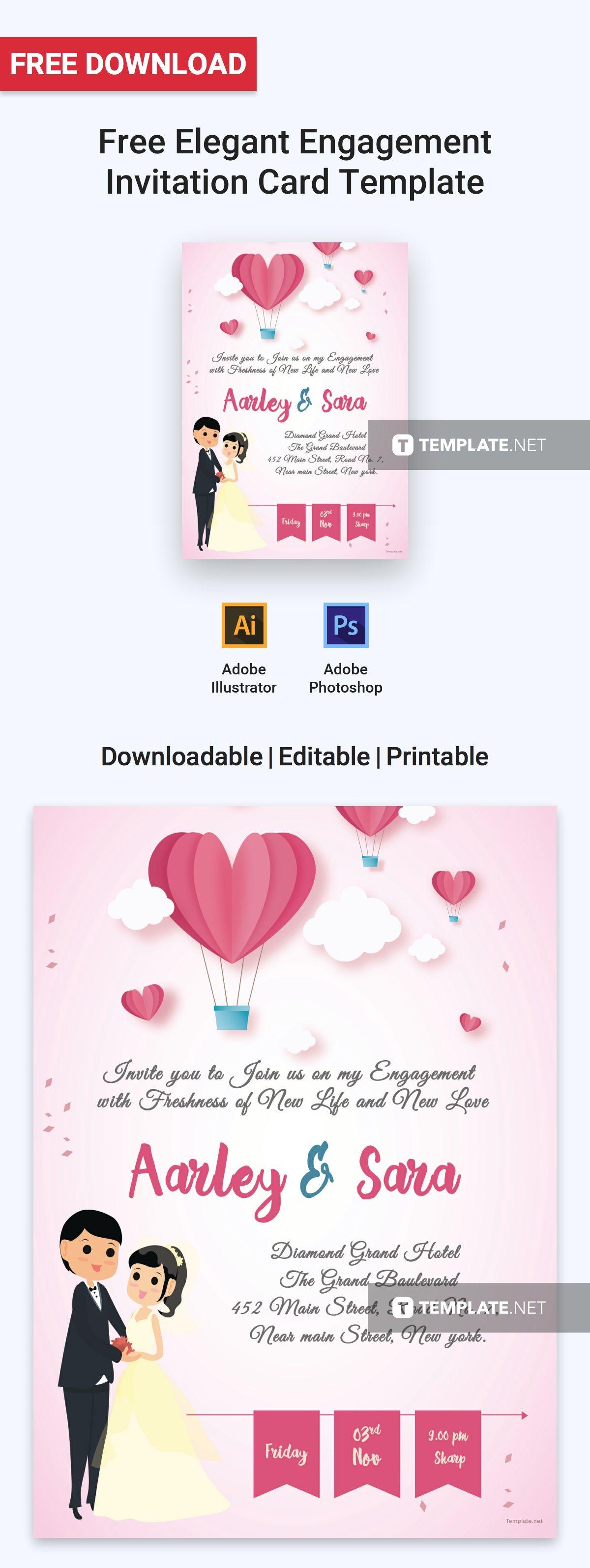 Free Elegant Engagement Invitation Card | Printables, Invitations ...