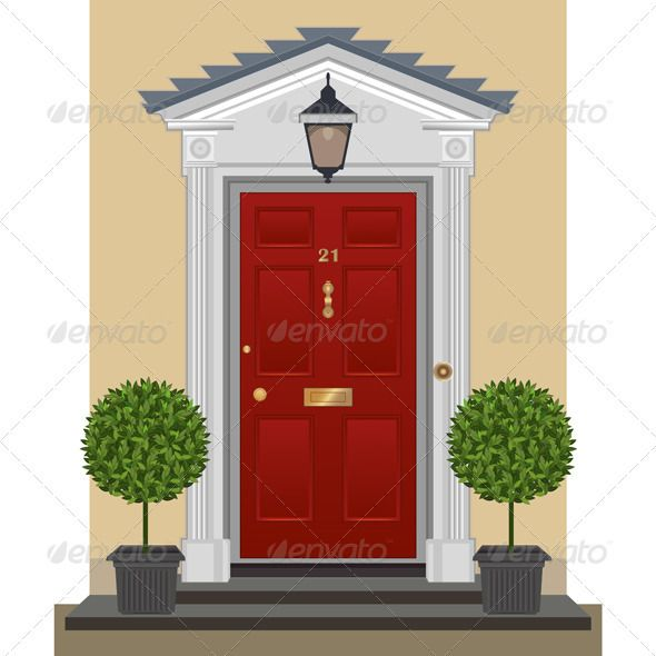 Door - Vector Illustration #GraphicRiver Traditional red-painted front door with lantern brass  sc 1 st  Pinterest & Door - Vector Illustration | Decorative planters and Architects