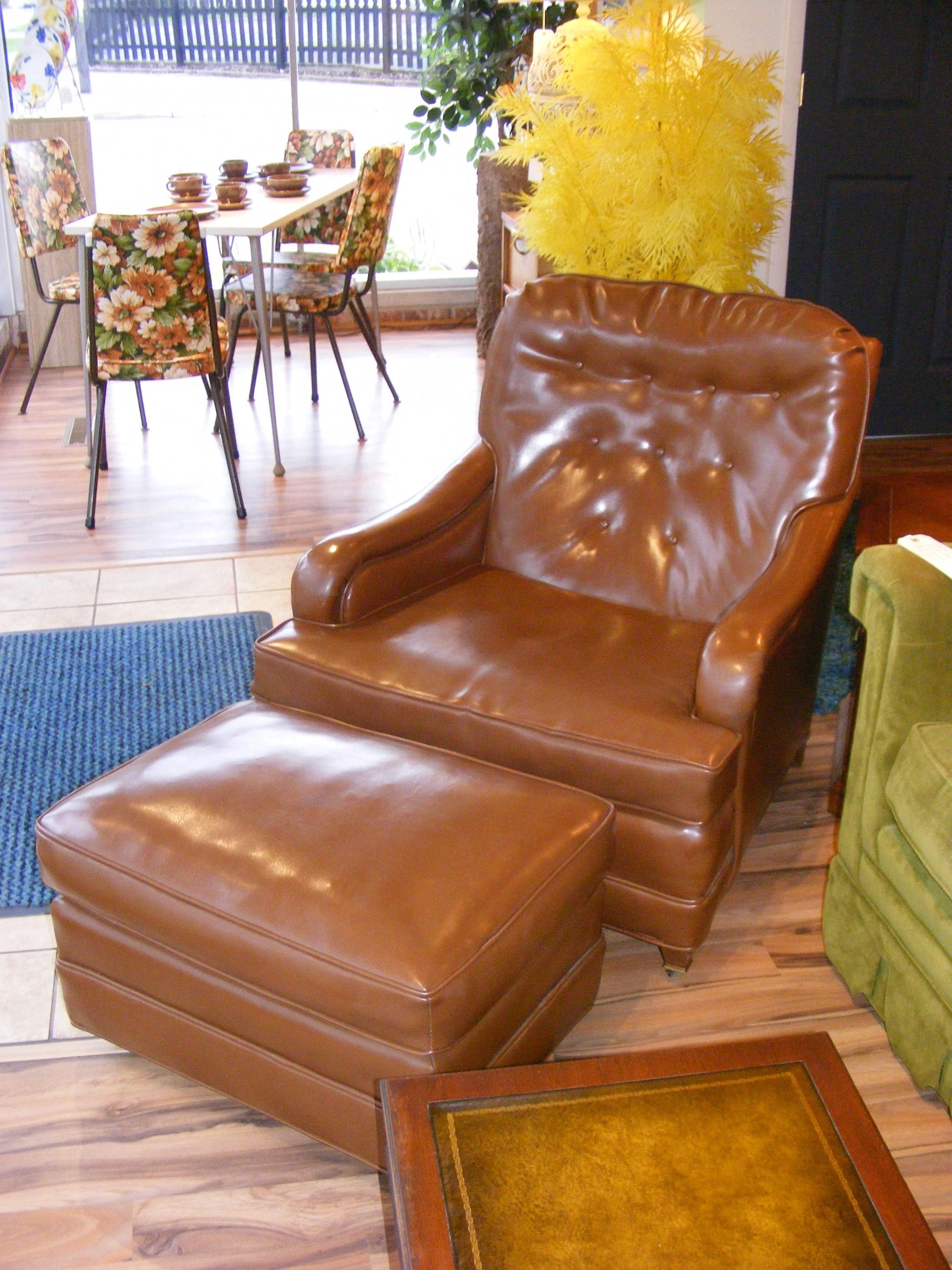 Nifty Naugahyde Lounger With Ottoman~! There Is Nothing Like Milk Chocolate  Naugahyde~!