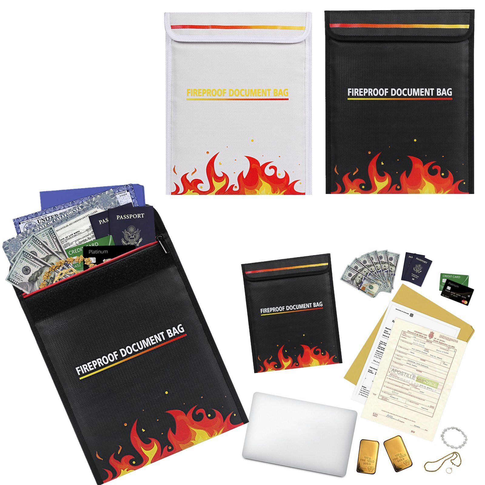 8763c54baaf2 $9.48 - Waterproof Document Fire Resistant Pouch Storage Safe Bag ...