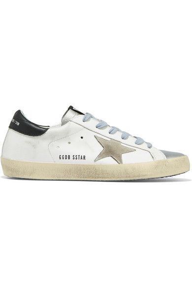 Golden Goose Deluxe Brand's sneakers have been made in Italy from white, silver and black leather and set upon spongy rubber soles – brushed and waxed by hand to create the look of old favorites. The beige suede star is a label signature.   NET-A-PORTER.COM