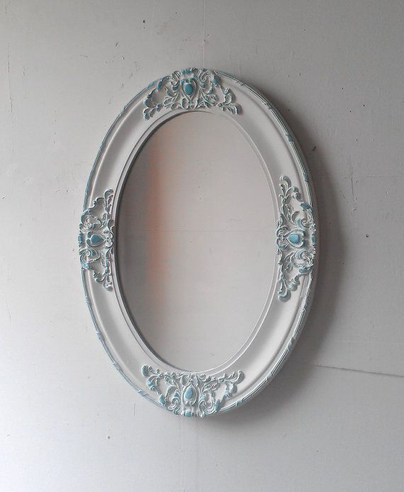 Large Antique White Mirror In Oval Wood By SecretWindowMirrors 17000