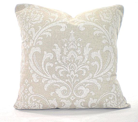 White Damask Accent Pillow